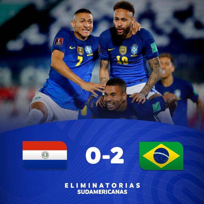 Hasil Paraguay vs Brazil - Brazil menang 2-0 atas Paraguay pada matchday 6 kualifikasi Piala Dunia 2020 Zona Conmebol.
