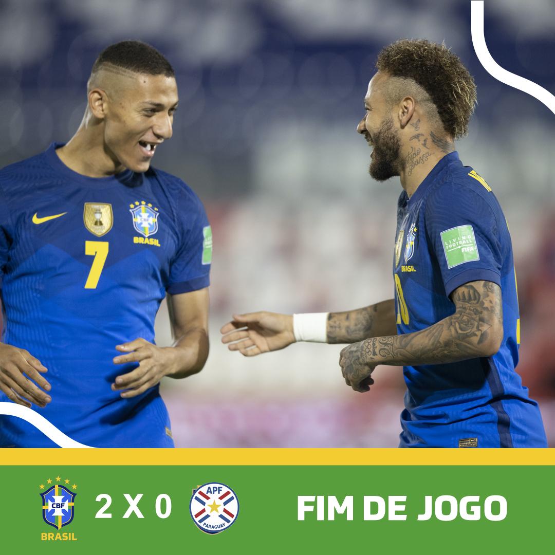 Skor akhir Paraguay vs Brazil - Brazil menang 2-0 atas Paraguay pada matchday 6 kualifikasi Piala Dunia 2022 Zona Conmebol, Selasa (8/6/2021) malam atau Rabu pagi WIB.