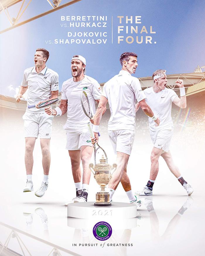 Final Four Wimbledon 2021 - Semifinal Wimbledon 2021: Matteo Berrettini vs Hubert Hurkacz dan Novak Djokovic vs Denis Shapovalov