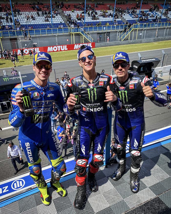 Hasil MotoGP Belanda 2021 - Tiga pebalap peraih podium MotoGP Belanda 2021: Fabio Quartararo ( Juara 1), Maverick Vinales (2) dan Joan Mir (3).