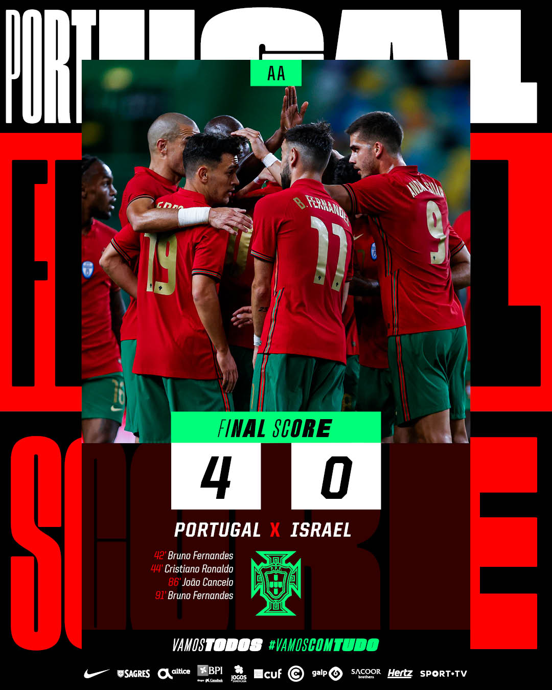 Hasil akhir Portugal 4-0 Israel pada laga ujicoba jelang Piala Eropa 2020, Rabu (9/6/2021)