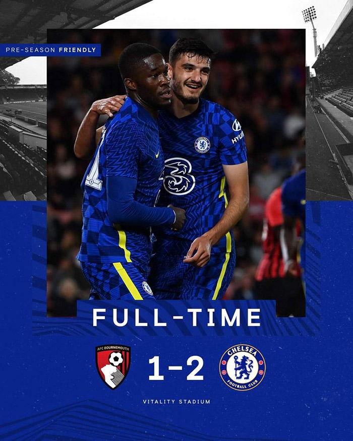 Hasil ujicoba pramusim AFC Bournemouth 1-2 Chelsea, Selasa (27/7/2021)
