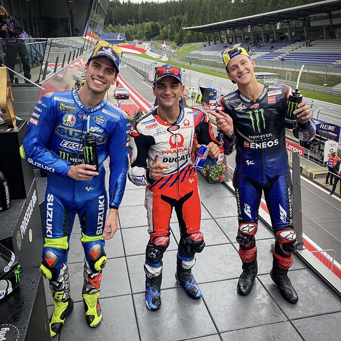 Hasil MotoGP Styria 2021 - Pebalap Pramac Ducati Jorge Martin (tengah) tampail sebagai juara MotoGP Styria 2021, disusul Joan Mir di podium 2 (Suzuki/kiri) dan Fabio Quartararo (Yamaha/kana) di podium 3, Minggu (8/8/2021)