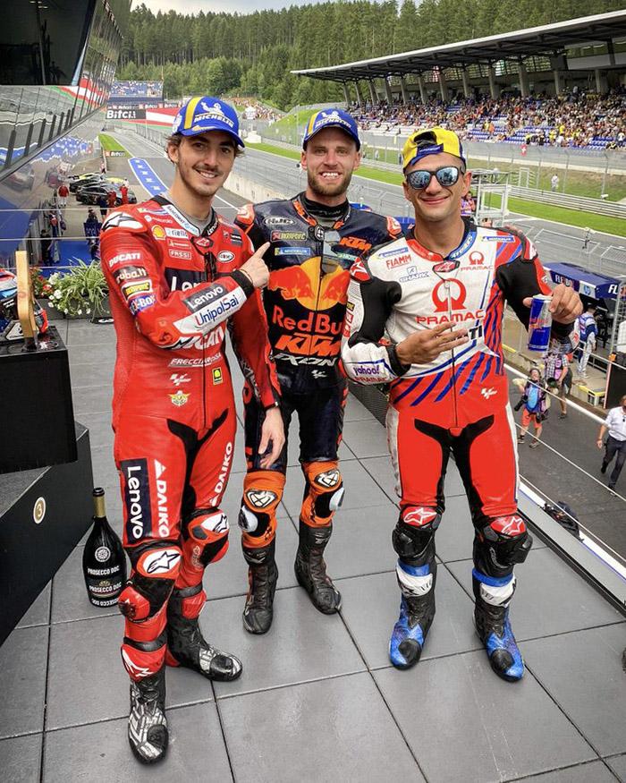 Juara MotoGP Austria 2021 Brad Binder, Francesco Bagnaia, Jorge Martin