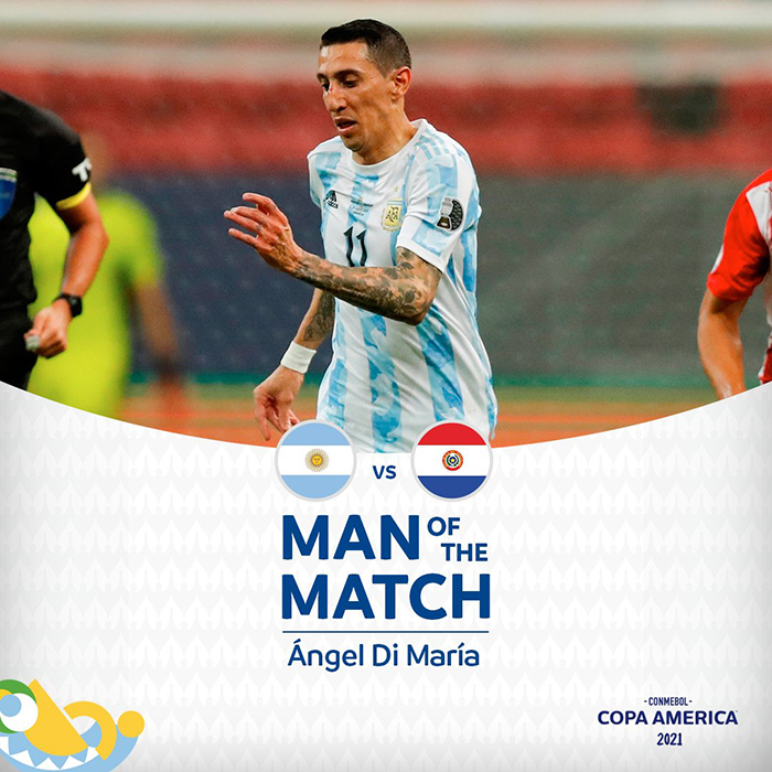 Pemain Argentina Angel Di Maria menjadi man of the match di laga lawan Paraguay pada matchday 3 Grup A Copa America 2021, Selasa (22/6/2021) pagi WIB.