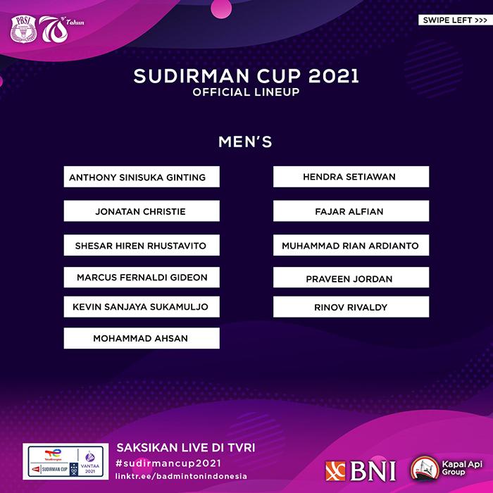 Tim Putra Piala Sudirman 2021