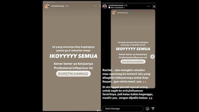 Unggahan Instagram Arief Muhammad dan Rachel Vennya soal Ikoy-ikoyan.