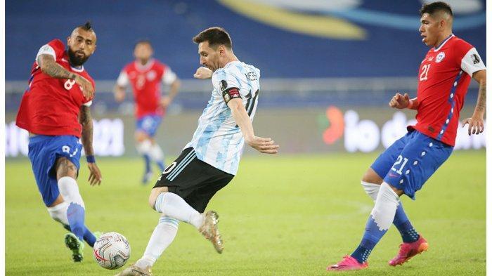 Tendangan Bebas Ciamik Messi Gagal Menangkan Argentina Kontra Chile di Laga Awal Copa America 2021