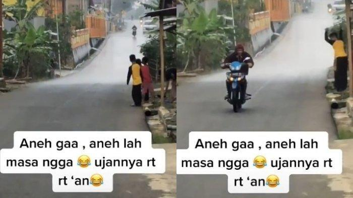 Pemuda asal Purwokerto, Jawa Tengah, Den Boy, merekam fenomena hujan yang hanya terjadi di satu RT di Desa Gunung Lurah, Kecamatan Cilongok, Purwokerto, Kabupaten Banyumas, Jawa Tengah, Rabu (5/5/2021).