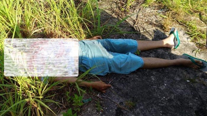 Sesosok mayat laki-laki ditemukan di area eks SMK Swakarya Tanjungpandan, Selasa (18/5/2021).