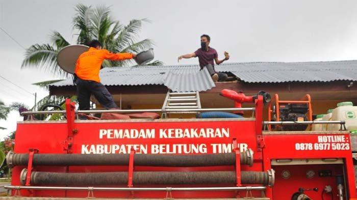 Aksi Evakuasi Sarang Lebah Berlangsung Dramatis, Tujuh Petugas BPBD Belitung Timur Disengat