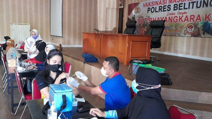 Sambut HUT Ke 75 Bhayangkara, Polres Belitung Gelar Vaksinasi Covid-19
