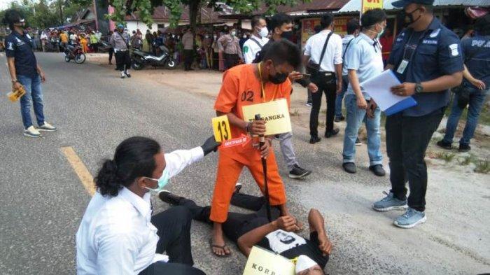 Rekontruksi Kasus Pembunuhan Di Tanjung Binga, Korban Sempat Melawan Hingga Senjata Pelaku Lepas
