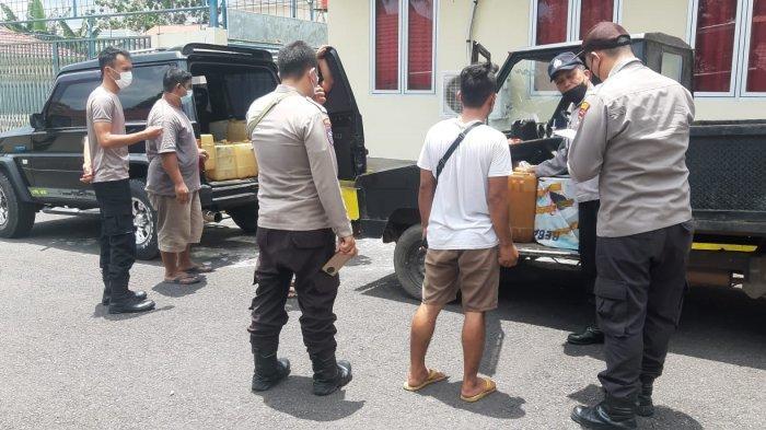 Polsek Tanjungpandan Amankan Lima Pengerit dan 116 Jeriken, Satu Mobil Tangki Modifikasi
