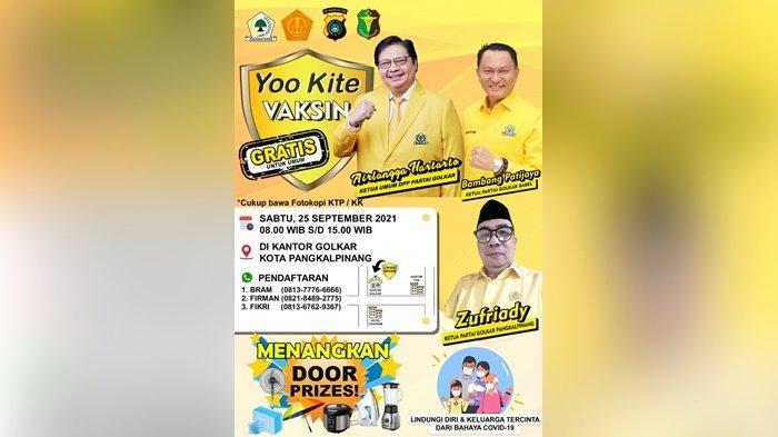 Partai Golkar Gelar Vaksin Covid-19 Gratis Serentak di Pangkalpinang dan Belitung Timur