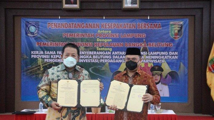 Teken Kerja Sama, Gubernur Babel dan Lampung Hubungkan Pelabuhan Sadai dengan Mesuji