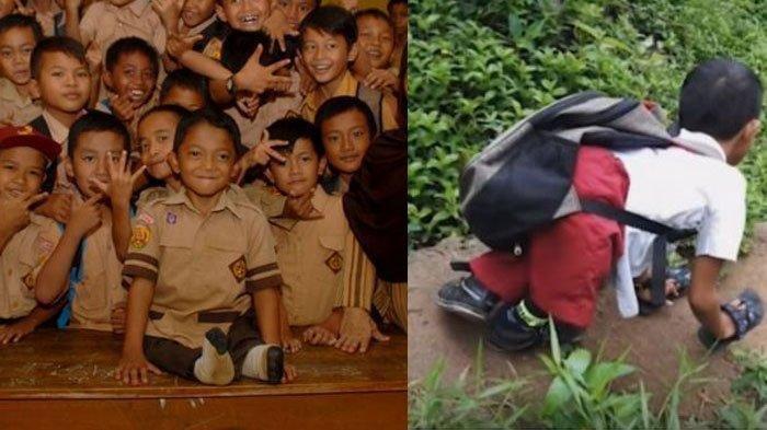 Demi Sekolah, Siswa SD Ini Merangkak Sejauh 3 Km