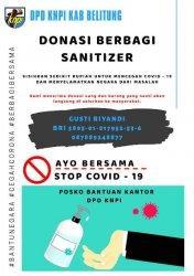 DPD KNPI Belitung Lakukan Aksi Donasi Berbagi Hand Sanitizer