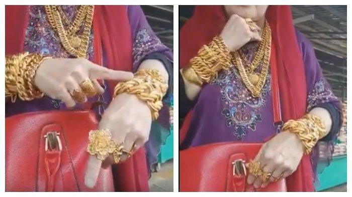 Ibu-ibu Makassar Pamer Pakai Emas di Tangan, Leher, hingga Jari-jarinya, Ngaku Bawa 3 KG