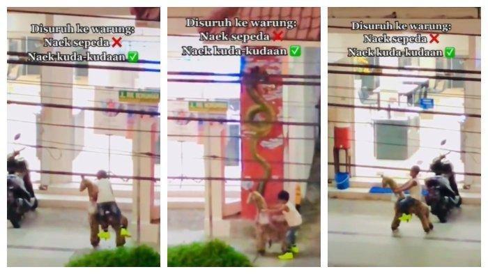 Video Lucu Bocah Naik Kuda-Kudaan Belanja ke Minimarket, Aksinya Bikin Ngakak, Viral di Media Sosial