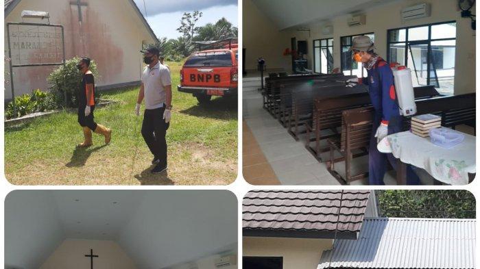 BPBD Belitung Timur Disinfeksi Gereja di Kelapa Kampit