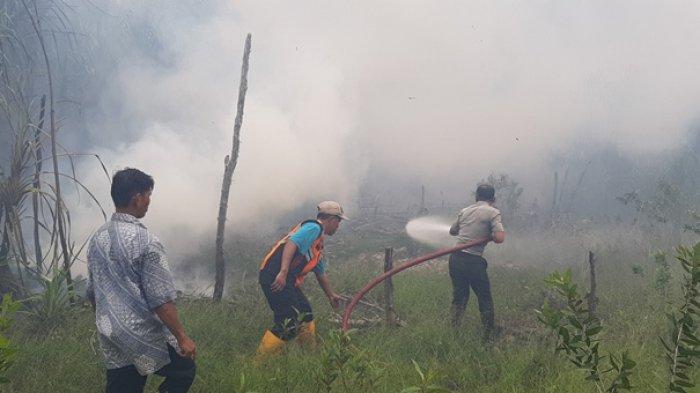 Tempat Wisata Tebat Rasau Kebakaran, Warga Masyarakat dan Unsur Forkopinda Berusaha Padamkan Api