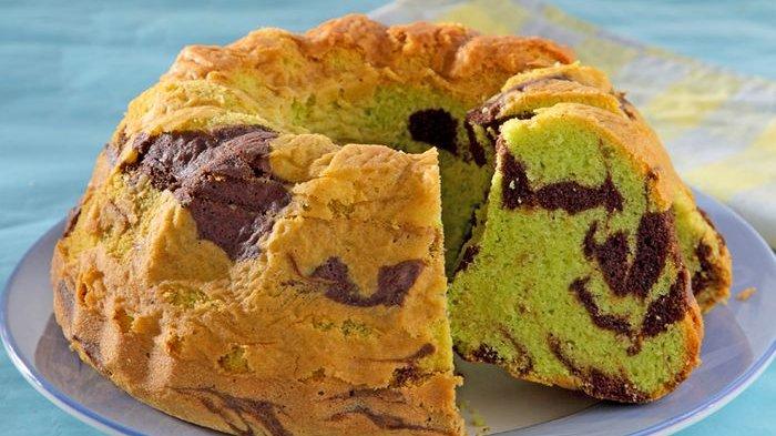 Cantik dan Lembut, Cake Marmer Pandan Ini Mudah Dibuat
