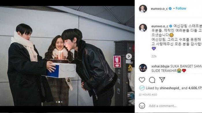 Cha Eun Woo Unggah Potret Manisnya Perpisahan dengan Pemain dan Kru Drama 'True Beauty'