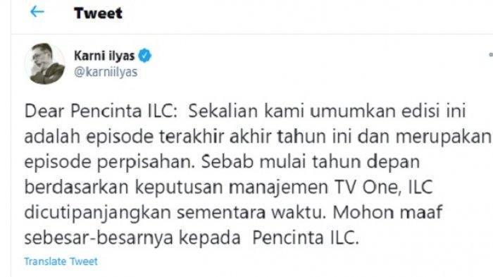 Karni Ilyas umumkan ILC malam ini jadi episode terakhir tahun ini sekaligus episode perpisahan.