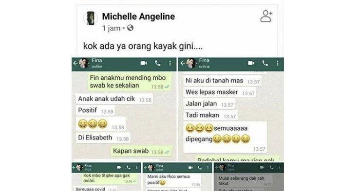 Chat WA soal Sekeluarga di Semarang Jalan-jalan Sebarkan Virus Covid-19 Begini Nasib Fina Sekarang