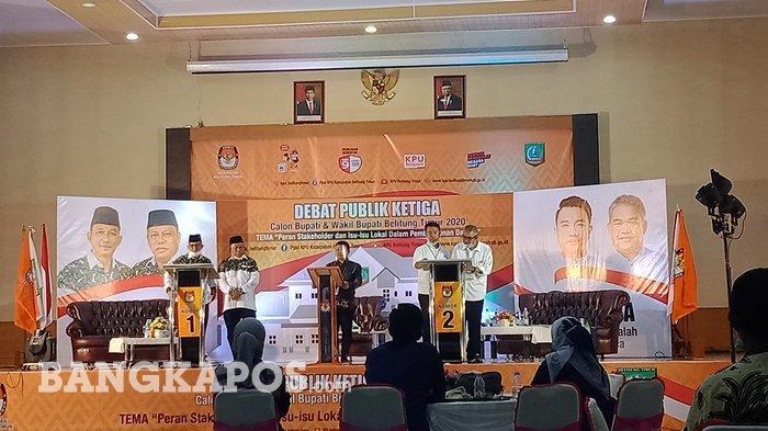 Debat Publik Belitung Timur, Paslon Diminta Saling Puji, Burhanudin dan Yuri Tos ala Covid -19