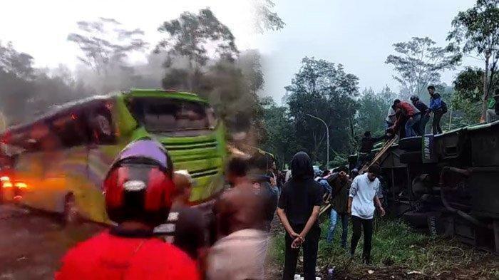 Detik-Detik Kecelakaan Maut Ciater, Bus Terguling Hingga Tewaskan 8 Orang, Ada Foto saat Evakuasi