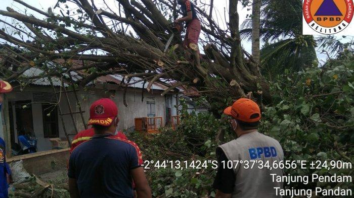 BPBD Kabupaten Belitung Catat Lima Rumah Rusak Terdampak Badai Angin Kencang
