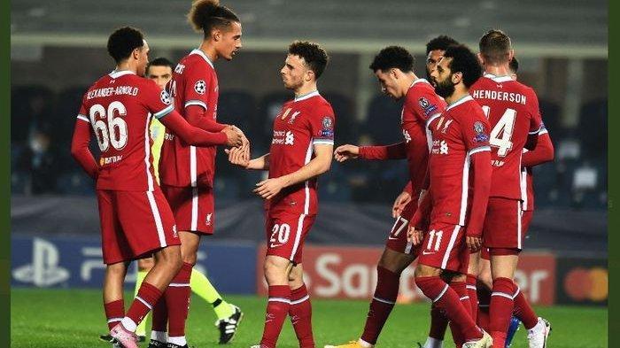 Diogo Jota (tengah) tampil brilian dalam kemenangan Liverpool atas Atalanta di Grup D Liga Champions 2020-2021.