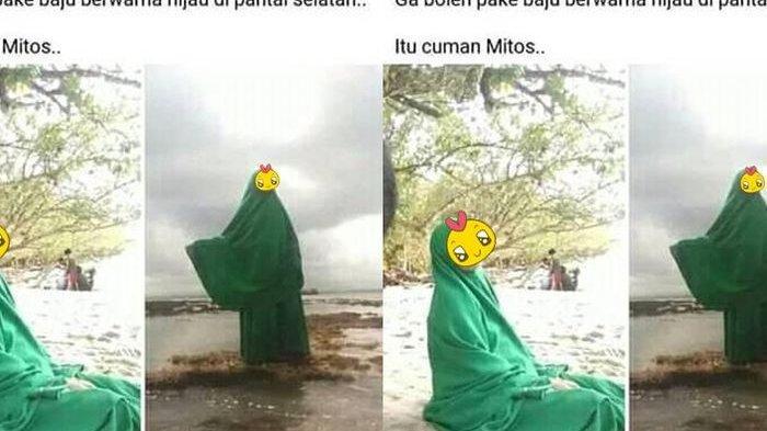 Tantang Mitos Mistik Jawa, Emak-emak Pakai Baju Warna Hijau dan Berfoto di Pantai Selatan
