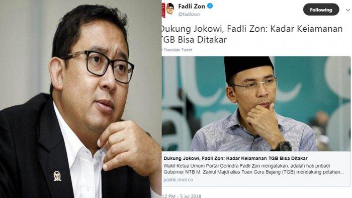 Cuitan Fadli Zon Sindir TGB dan Singgung Soal Kadar Keimanan