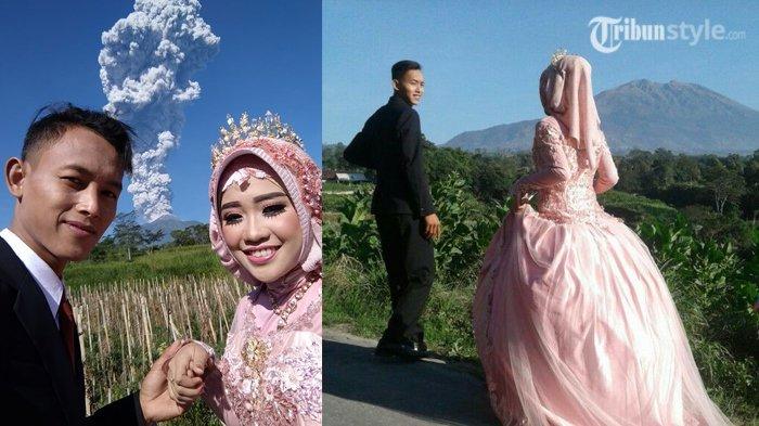 Foto Prewedding Background Letusan Merapi, Semoga Seperi Janji Merapi yang Tak Pernah Ingkar