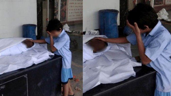 Foto Bocah Membelai Jenazah Ayahnya yang Tewas Saat Membersihkan Selokan Viral