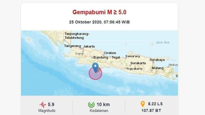 Gempa 5,9 Magnitudo Guncang Pangandaran, 17 Wilayah Terdampak, Kota Bandung Hingga Yogyakarta