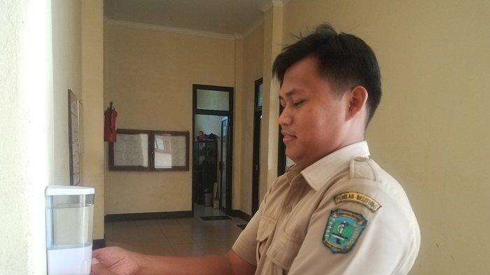 Pemkab Belitung Pasang Hand Sanitizer di Kantor Bupati,Stok Terbatas Lobby Pihak RSUD Marsidi Juwono