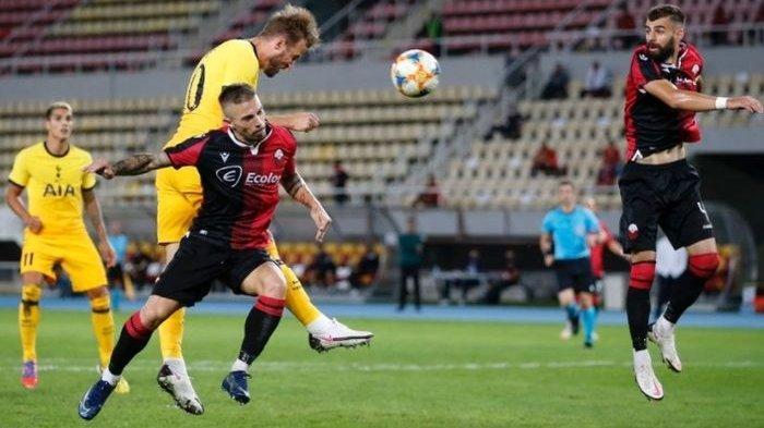 Harry Kane, mencetak gol dalam laga Tottenham Hotspur melawan Shkendija di babak kualifikasi III Liga Europa, Kamis (24/9/2020) di Skopje.