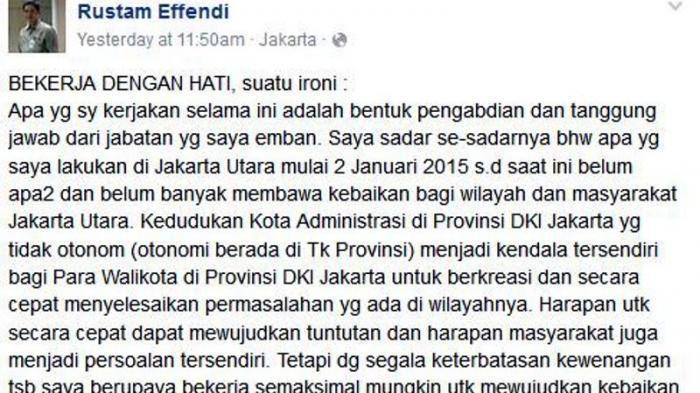 Curhatan Wali Kota Jakarta Utara Curhat di Facebook, Usai Disebut Ahok Bersekutu Dengan Yusril
