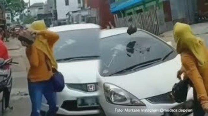 Istri Pergoki Suami Bersama Wanita Lain di Dalam Mobil, Batu Besar ini pun 'Mendarat' di Kaca Depan