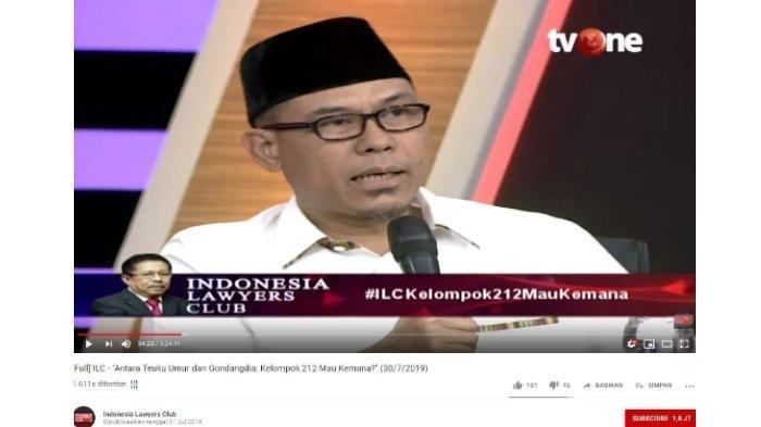 Juru Bicara Front Pembela Islam (FPI) Munarman dalam Indonesia Lawyers Club, Selasa (30/7/2019).