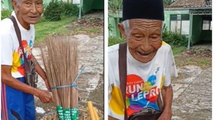 Kakek Renta Penjual Sapu Menangis, Teganya Uangnya Dijambret, Netizen Doakan Semoga Pelaku Kena Azab