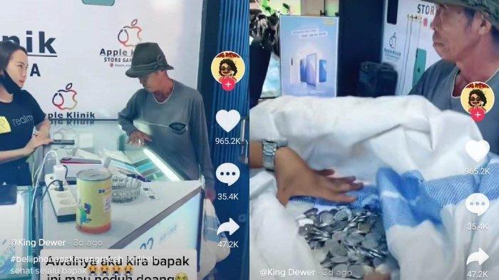 Viral Kakek Ini Bawa Sekarung Uang Receh Demi Beli Handphone untuk Anak dan Cucunya