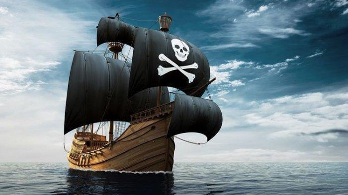 Ilustrasi Kapal Bajak Laut dengan bendera tengkorak