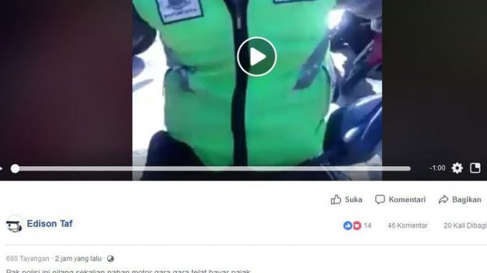 Video Motor Disita karena Telat Bayar Pajak Viral, Begini Ternyata Penjelasan Polisi