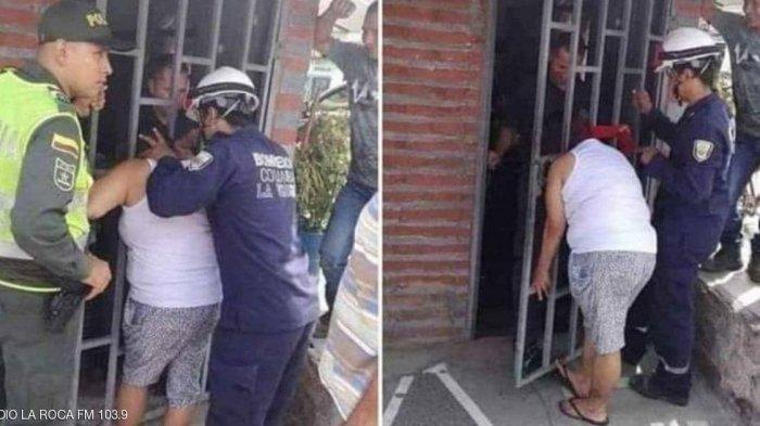 Kepala Wanita Ini Terjebak Jeruji Pintu Rumah Tetangganya