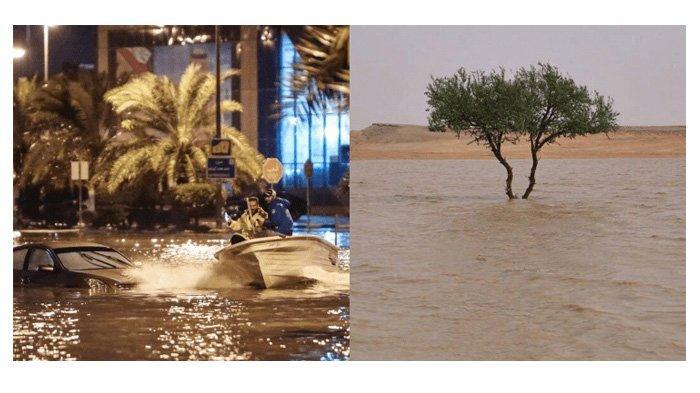 Terburuk Dalam Sejarah, Gurun Arab Saudi Jadi 'Laut' Karena Banjir dan Badai, Intip Videonya di Sini